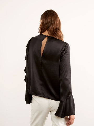 Cassandra Black Silk Frill Blouse by KITRI Studio