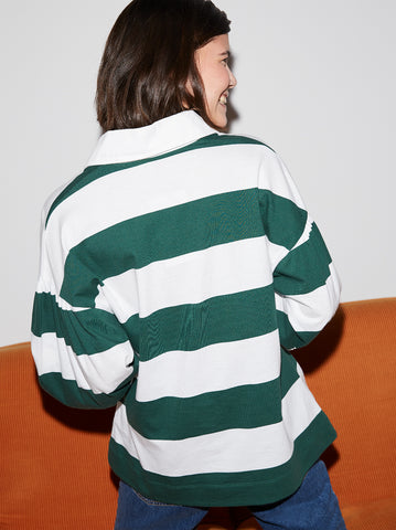 Catriona Cotton Rugby Striped Balloon Sleeve Top by KITRI Studio