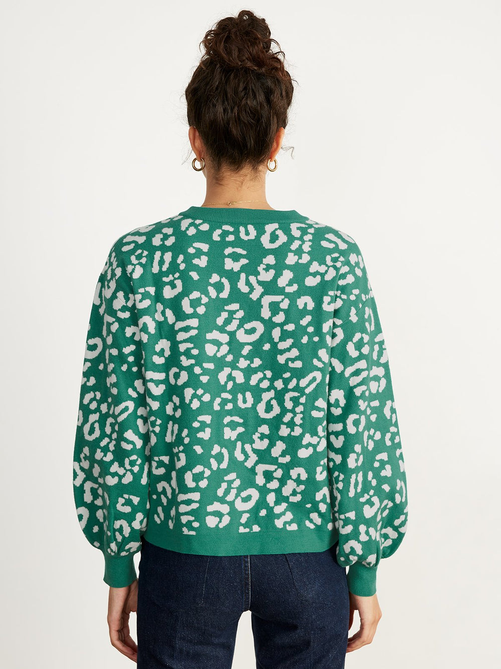 Chiara Green Animal Print Jumper by KITRI Studio