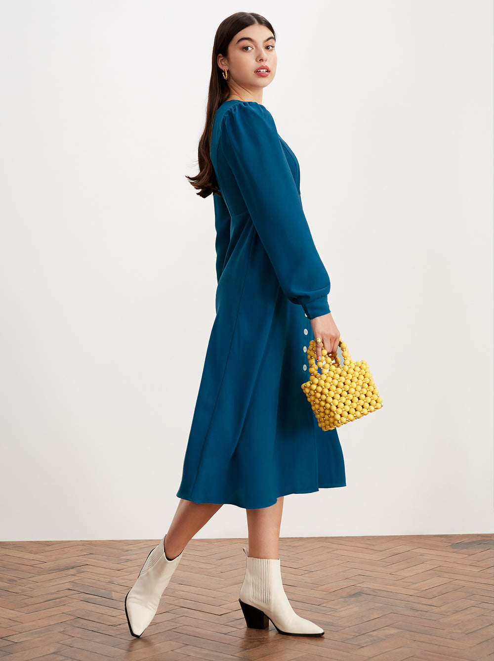 Clara Blue Square Neck Midi Dress by KITRI Studio