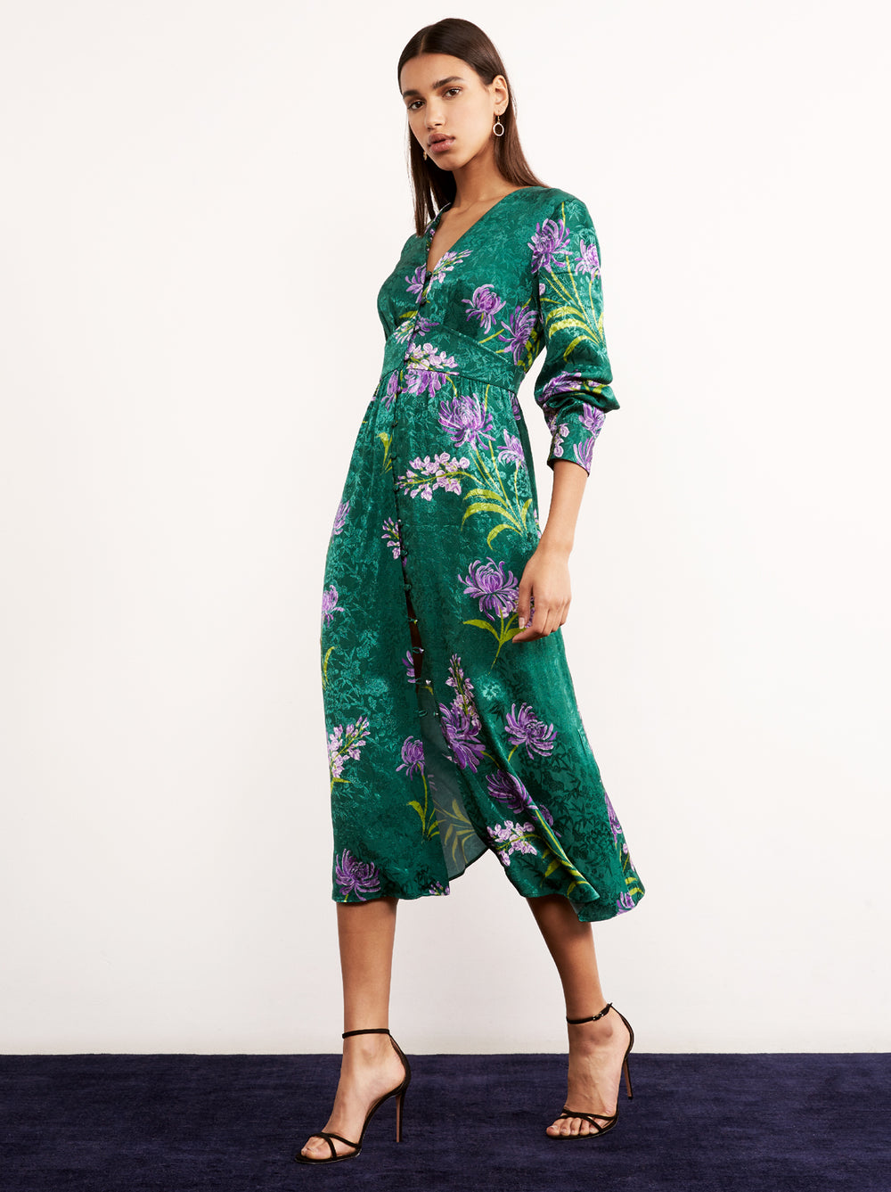 Clementine Green Floral Print Vintage Midi Dress by KITRI Studio