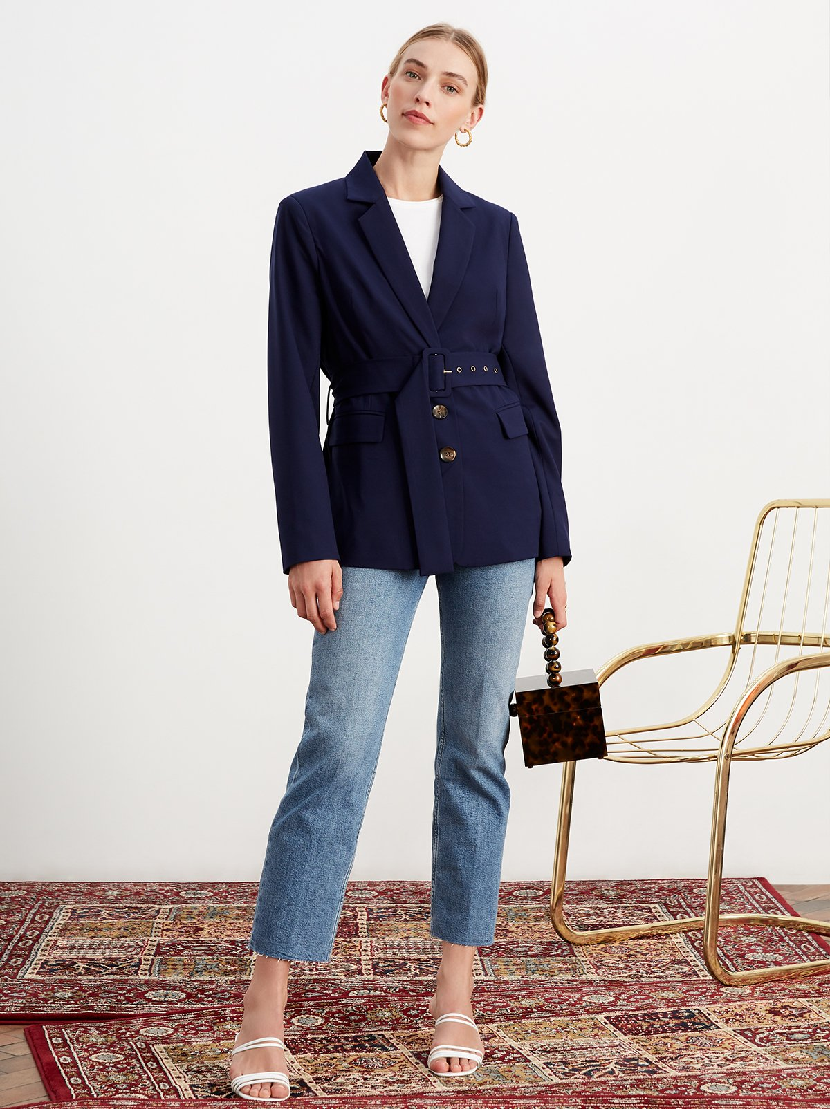 Courtney Navy Single Breasted Belted Blazer by KITRI Studio