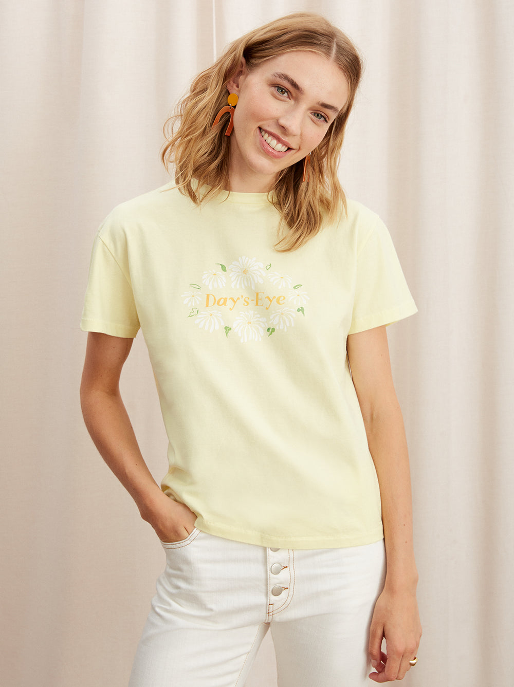 Days-Eye Yellow Cotton Printed T-shirt by KITRI Studio