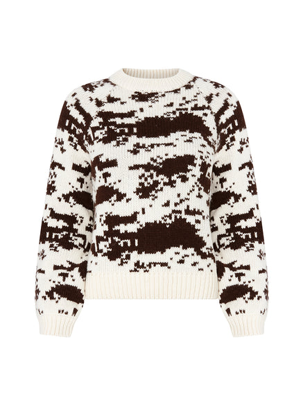 Deanna Cow Jacquard Jumper by KITRI Studio