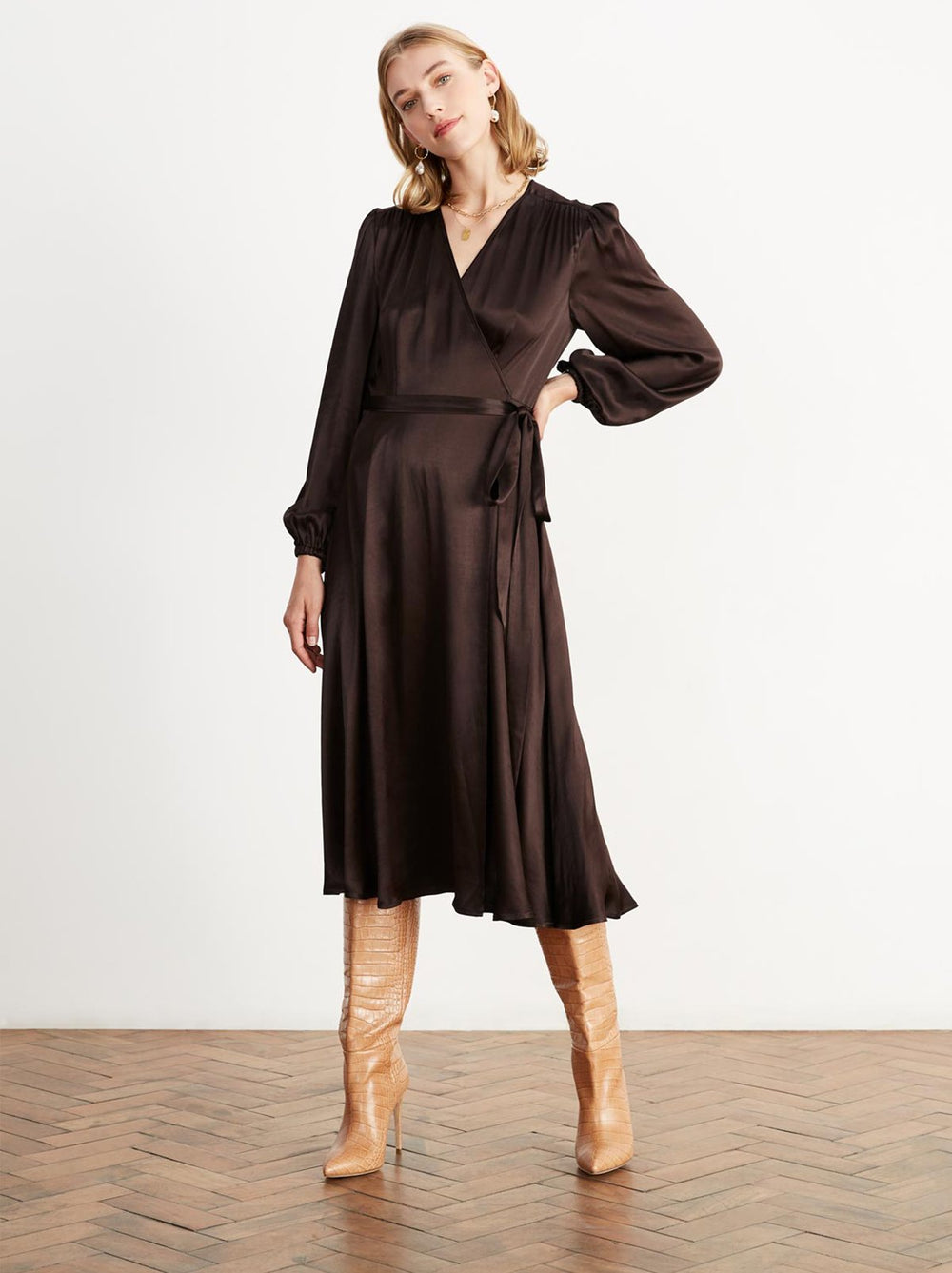 Diana Chocolate Wrap Dress by KITRI Studio