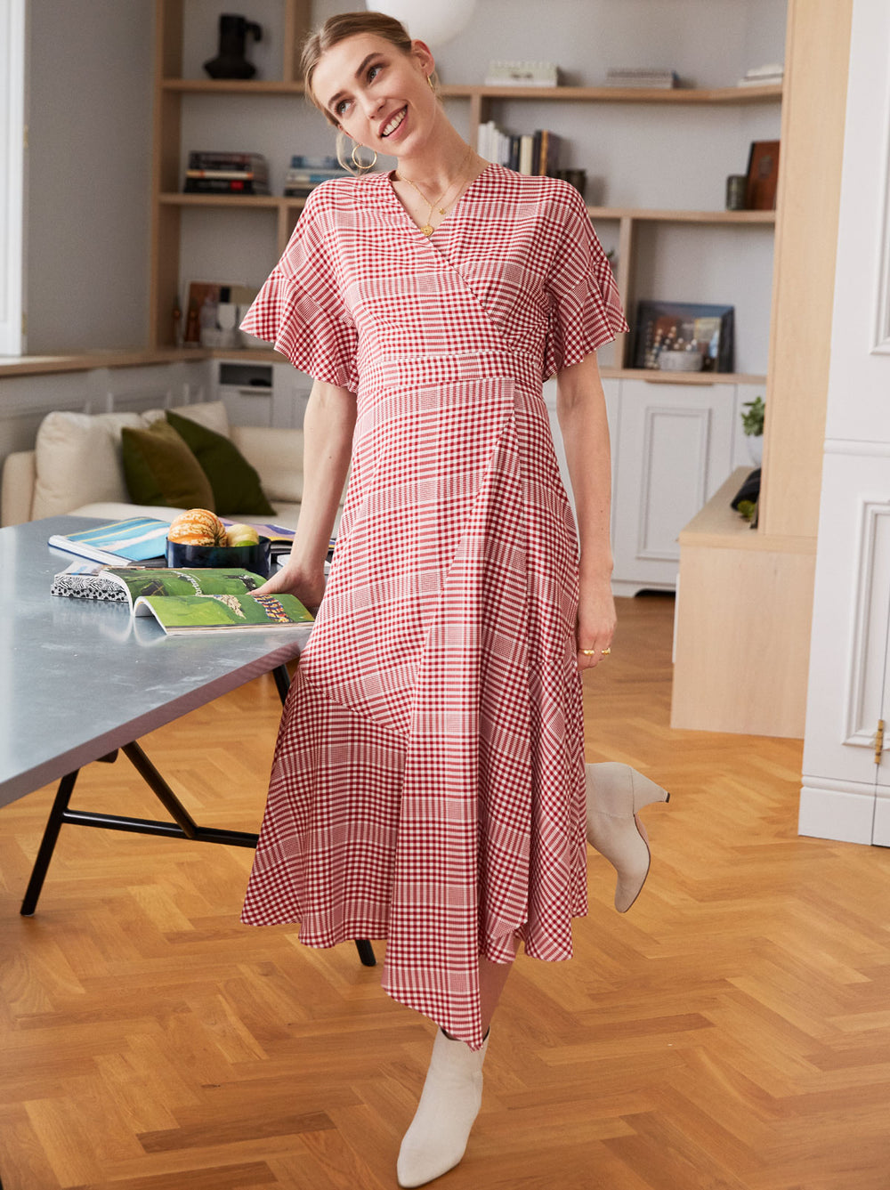 Eliana Red Check Wrap Dress by KITRI Studio