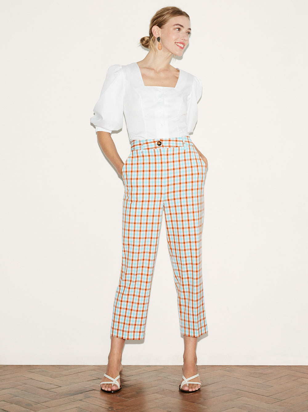 Elva Check Tailored Trousers by KITRI Studio