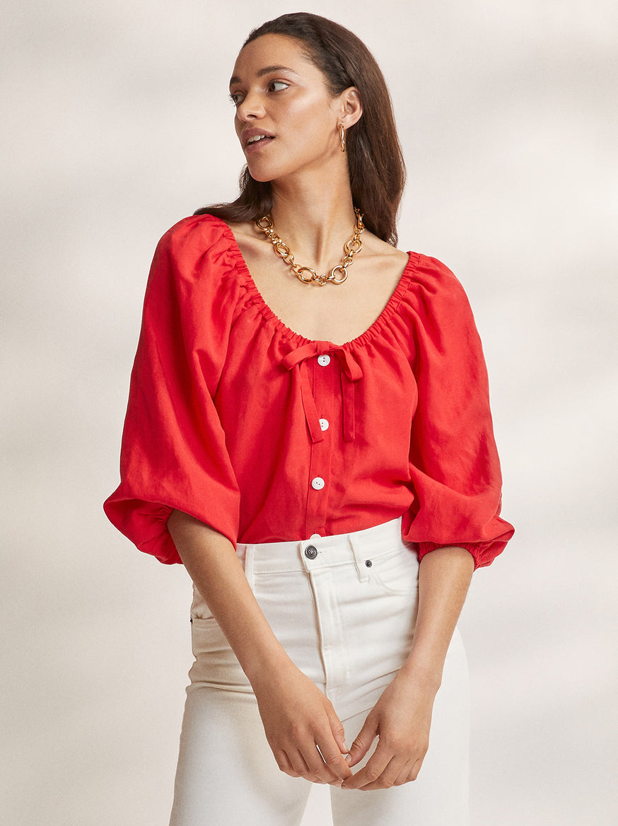 Esther Red Linen Top by KITRI Studio