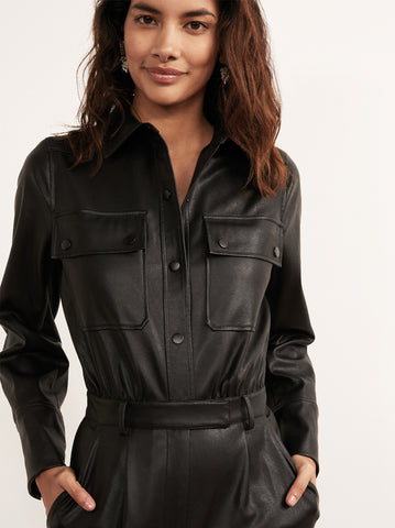 Fee Black Faux Leather Jumpsuit