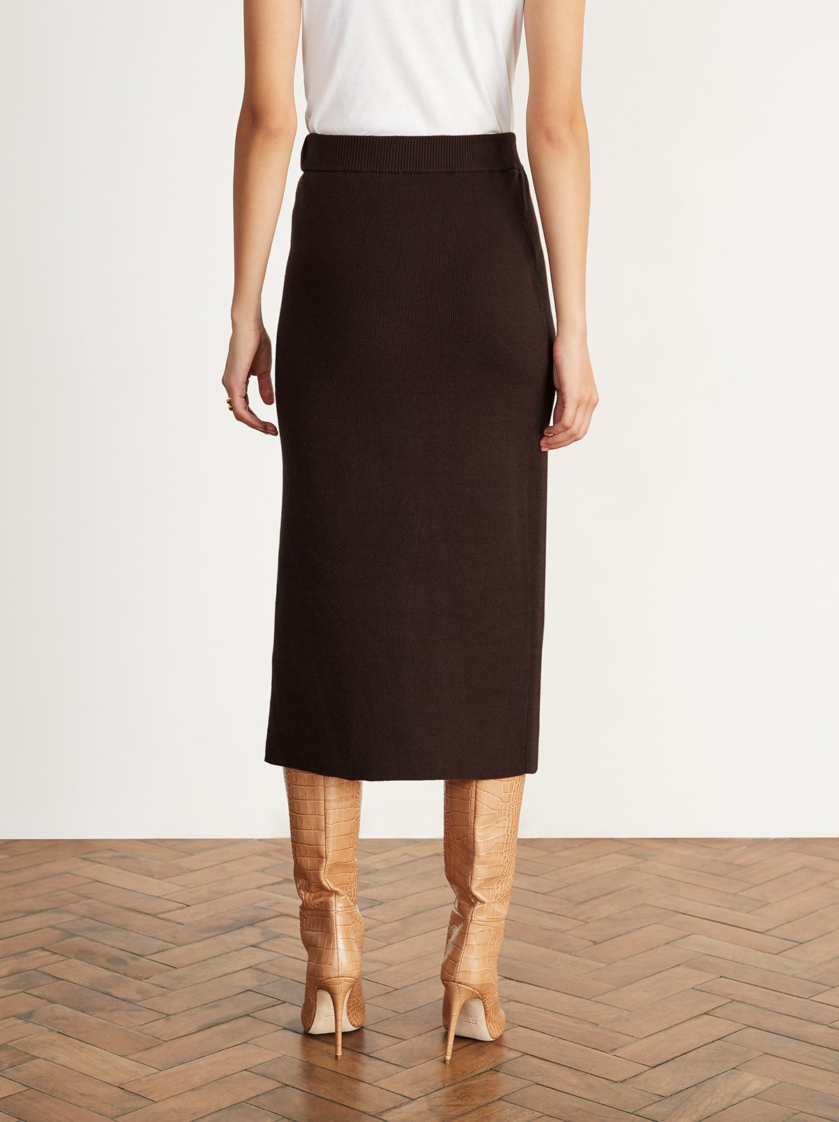 Felicia Brown Knitted Midi Skirt by KITRI Studio