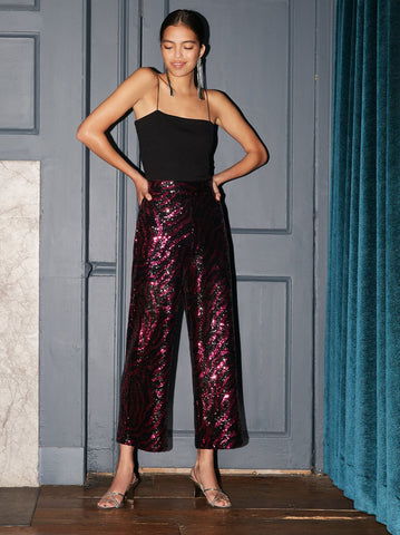 Ferri Pink Animal Sequin Trousers by KITRI Studio