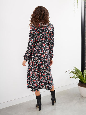Fiona Vintage Floral Print Midi Dress by KITRI Studio