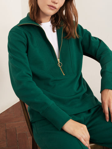 Francine Green Cotton Zip Sweatshirt by KITRI Studio