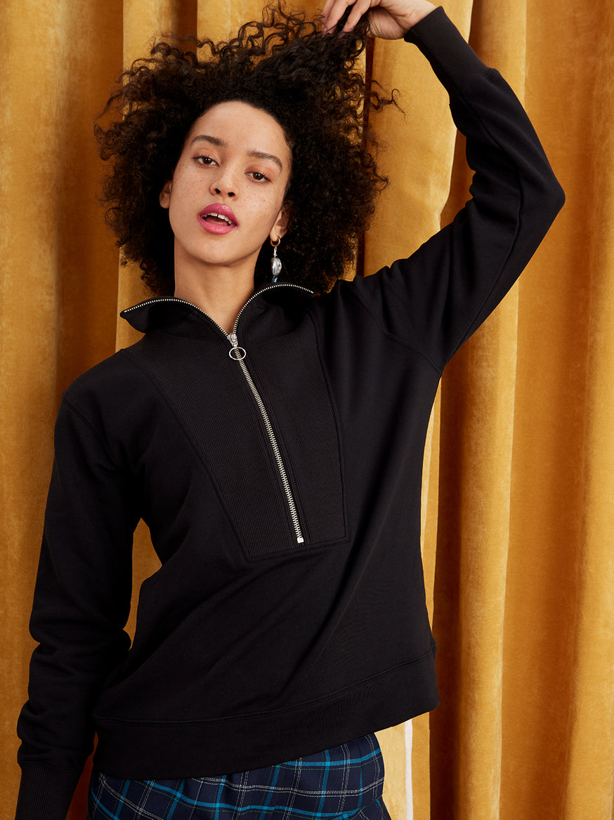Francine Black Cotton Zip Sweatshirt by KITRI Studio