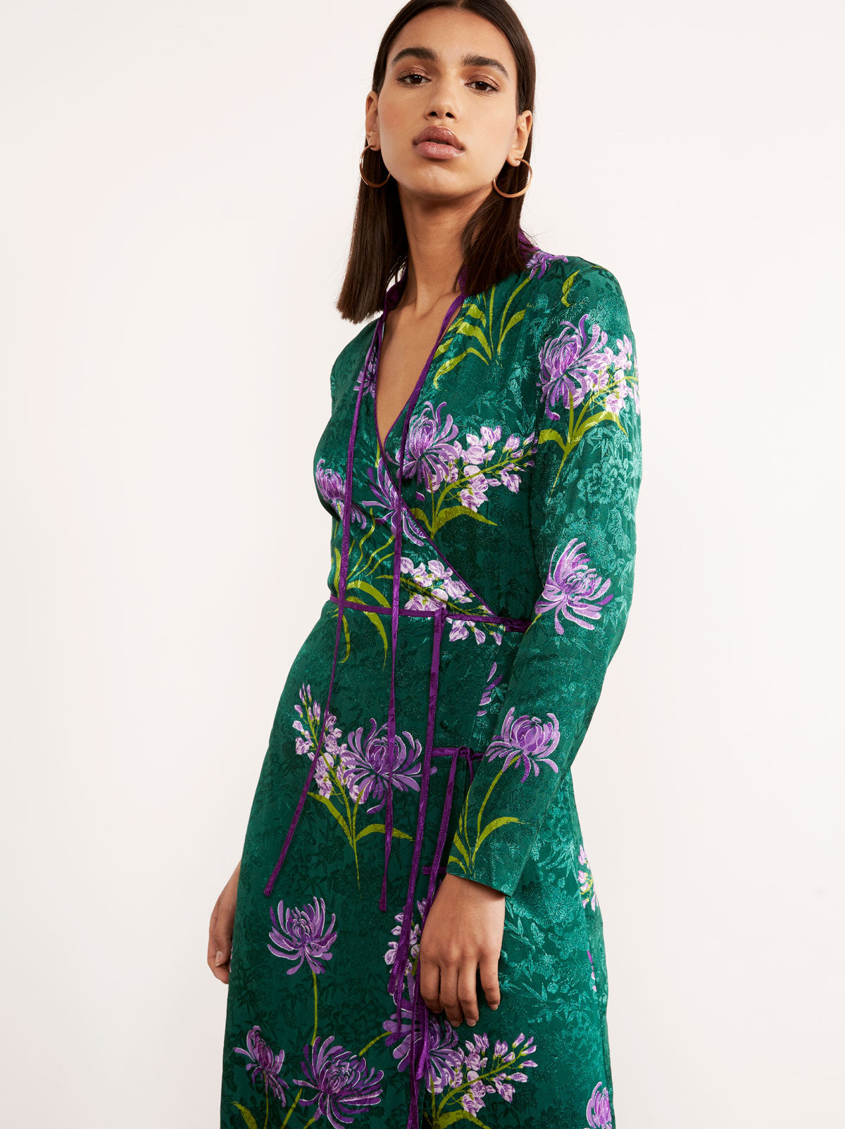 Frida Green Floral Print Midi Wrap Dress by KITRI Studio