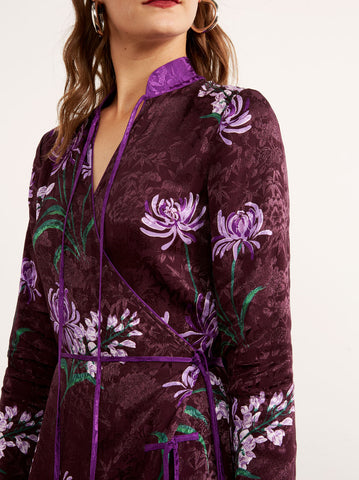 Frida Purple Floral Print Midi Wrap Dress by KITRI Studio