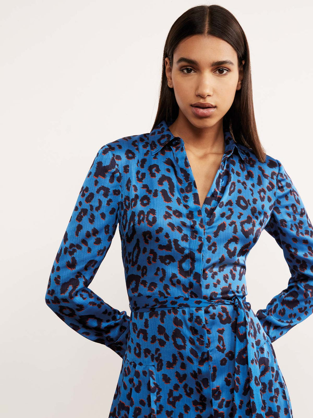 Gabriella Animal Print Pleated Shirt Dress by KITRI Studio