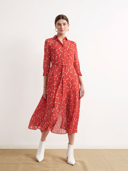 Gabriella Red Floral Print Pleated Shirt Dress by KITRI Studio