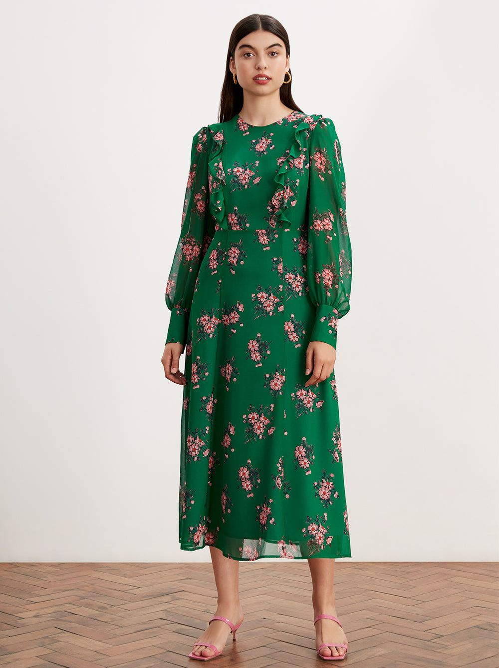 Gina Green Floral Print Vintage Dress by KITRI Studio
