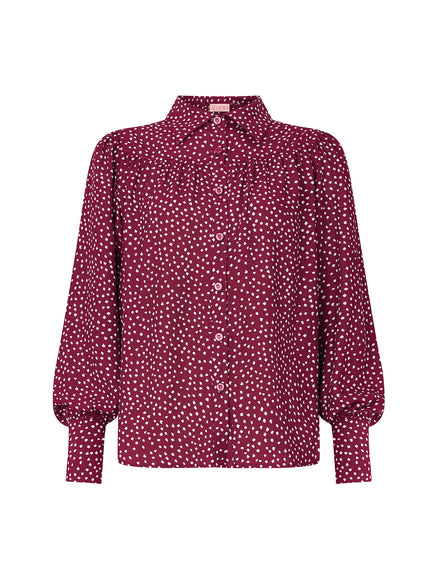 Giselle Berry Spot Print Blouse