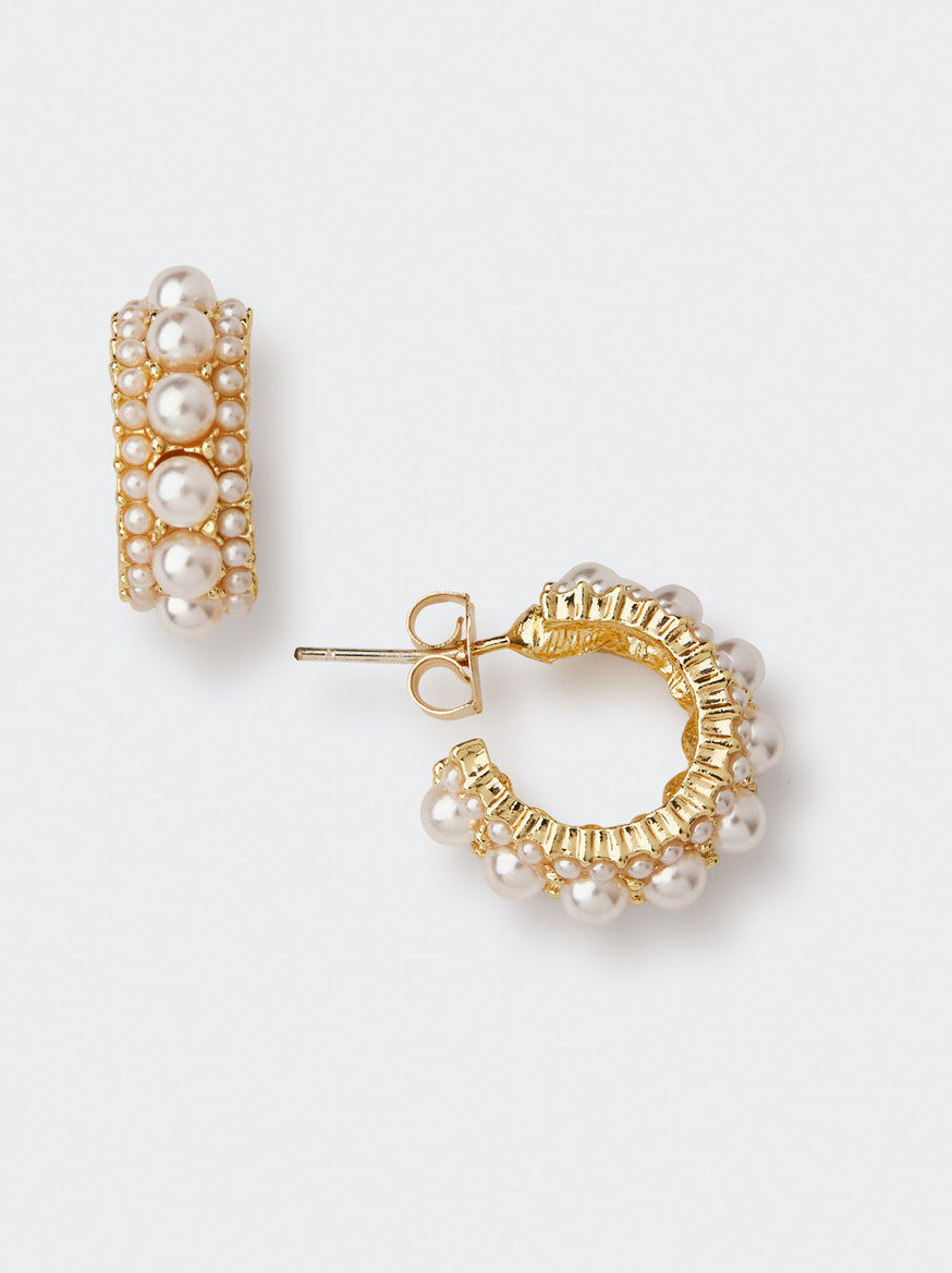 Gold and Pearl Hoop Small Earrings by KITRI Studio
