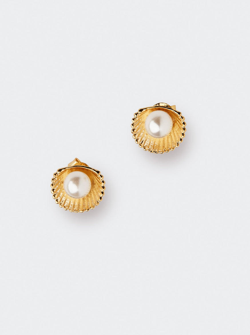 Gold and Pearl Shell Earrings by KITRI Studio