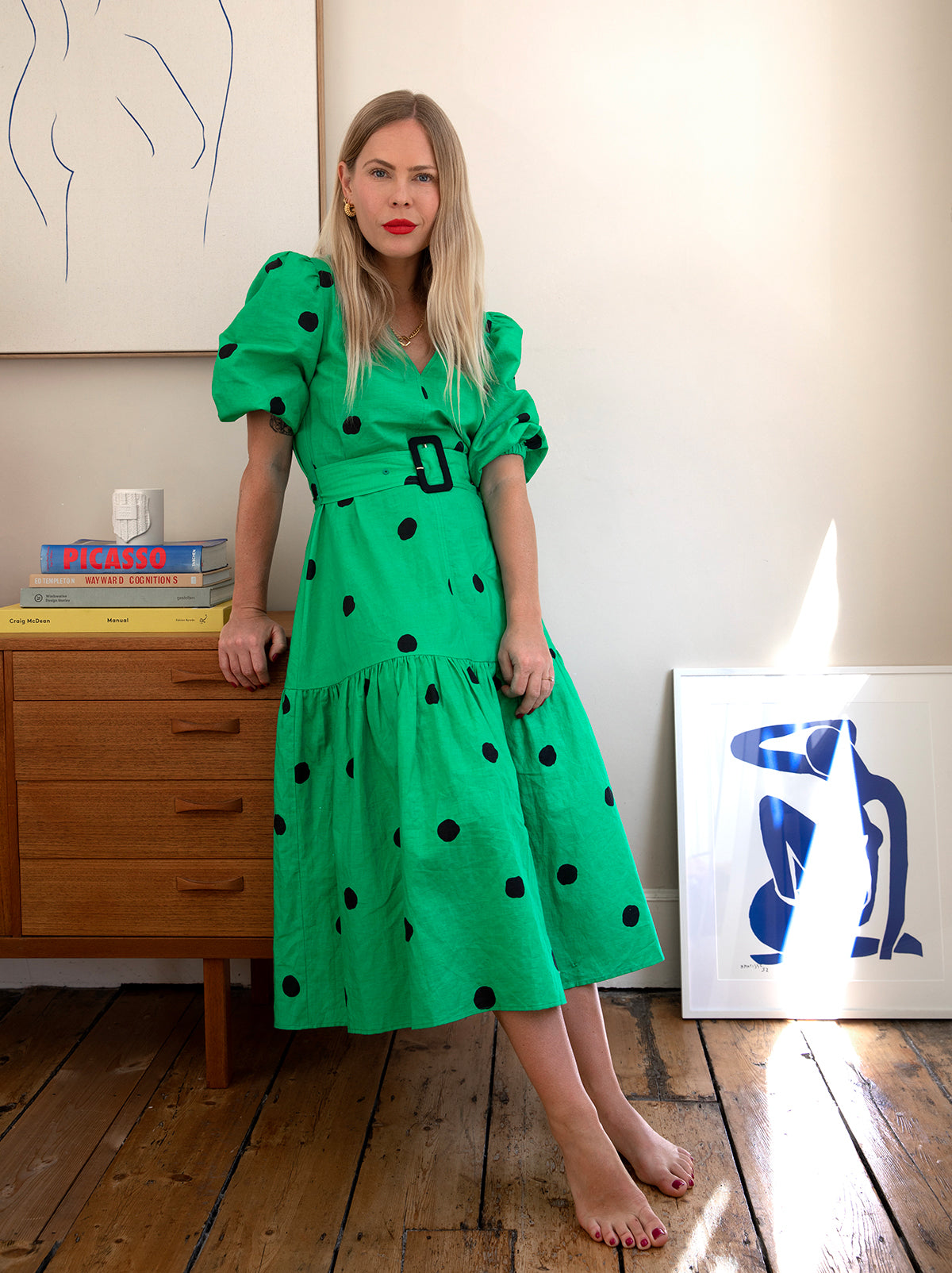Pre-order: Jenny Green Polka Dot Linen Dress