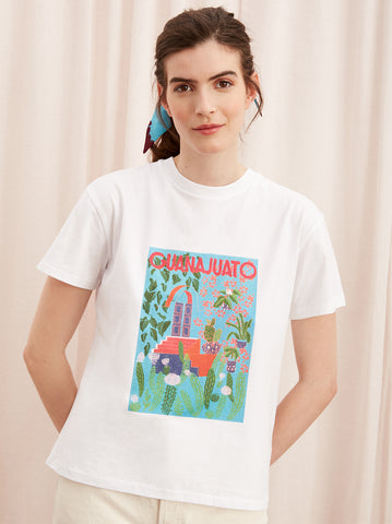Guanajuato White Cotton Print T-shirt by KITRI Studio
