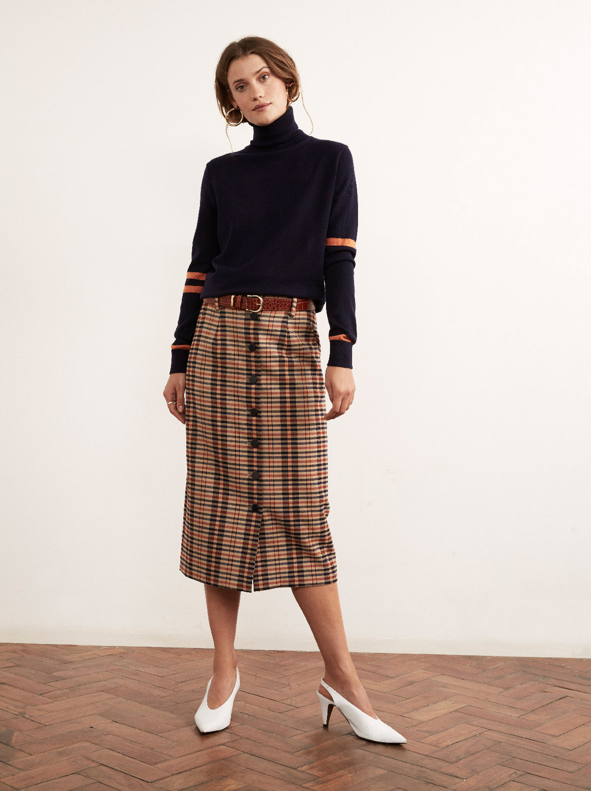 Harper Checked Pencil Skirt by KITRI Studio