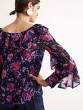 Hazel Purple Floral Print Frill Collar Top by KITRI Studio