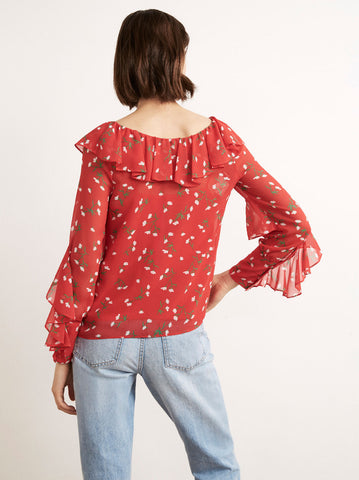 Hazel Red Floral Print Frill Collar Top by KITRI Studio