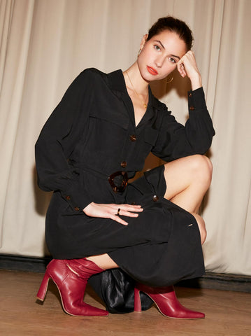 Irina Black Shirt Dress by KITRI Studio