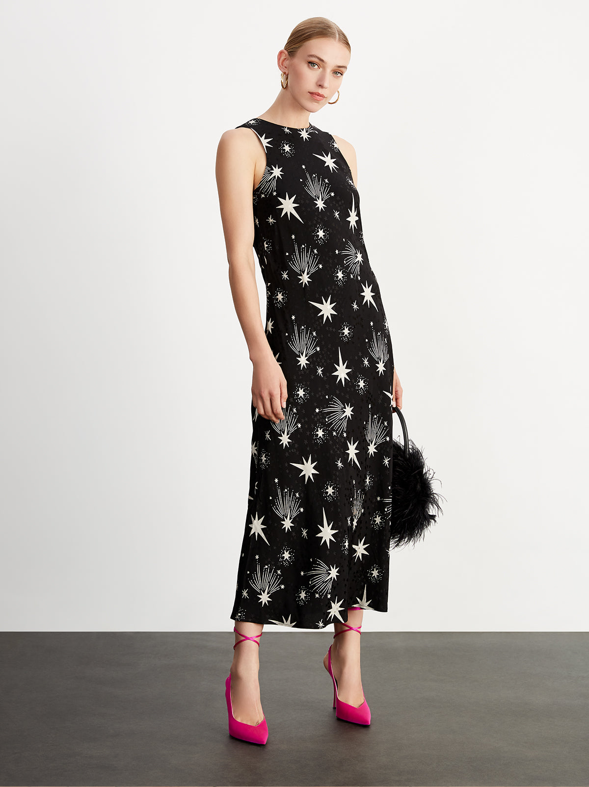 Iris Black Star Print Dress by KITRI Studio