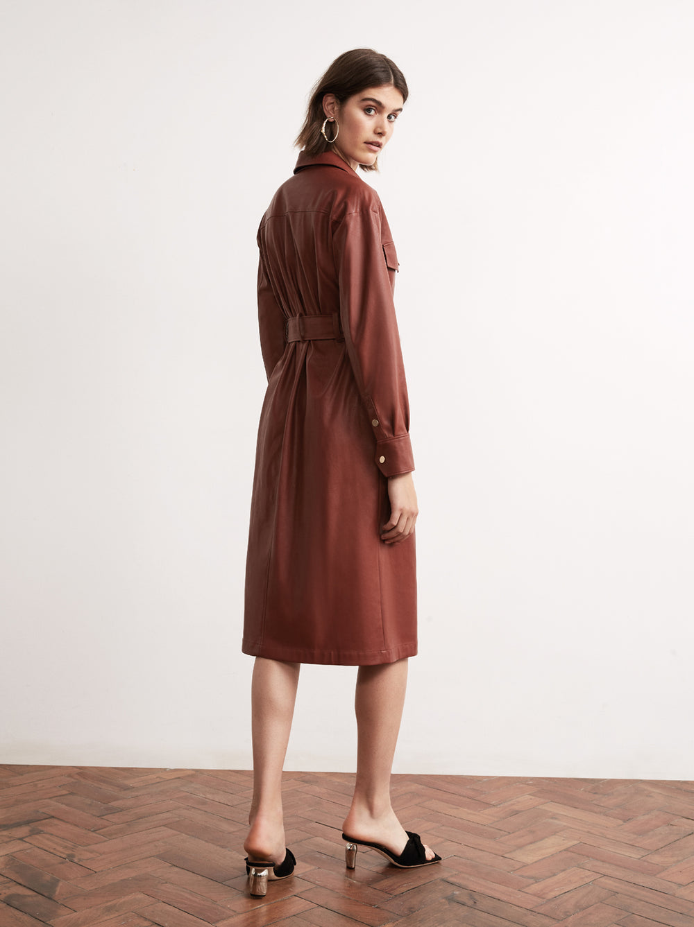 Jacqueline Tobacco Vegan Leather Shirt Dress by KITRI Studio