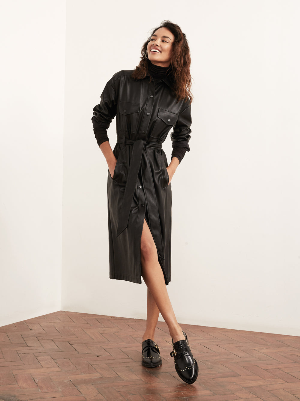 Jacqueline Black Vegan Leather Shirt Dress Womens Shirt Dresses