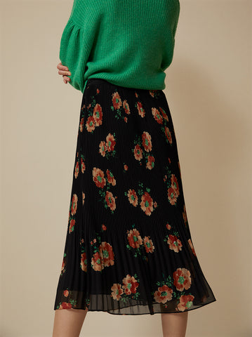 Jeanine Black Floral Pleated Skirt by KITRI Studio