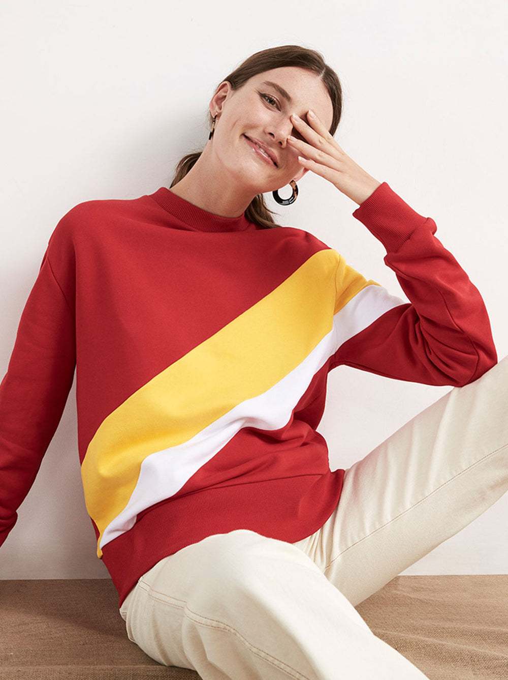 Jeanine Red Cotton Striped Sweatshirt by KITRI Studio