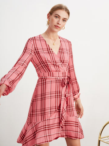 Jennifer Pink Frill Wrap Dress by KITRI Studio