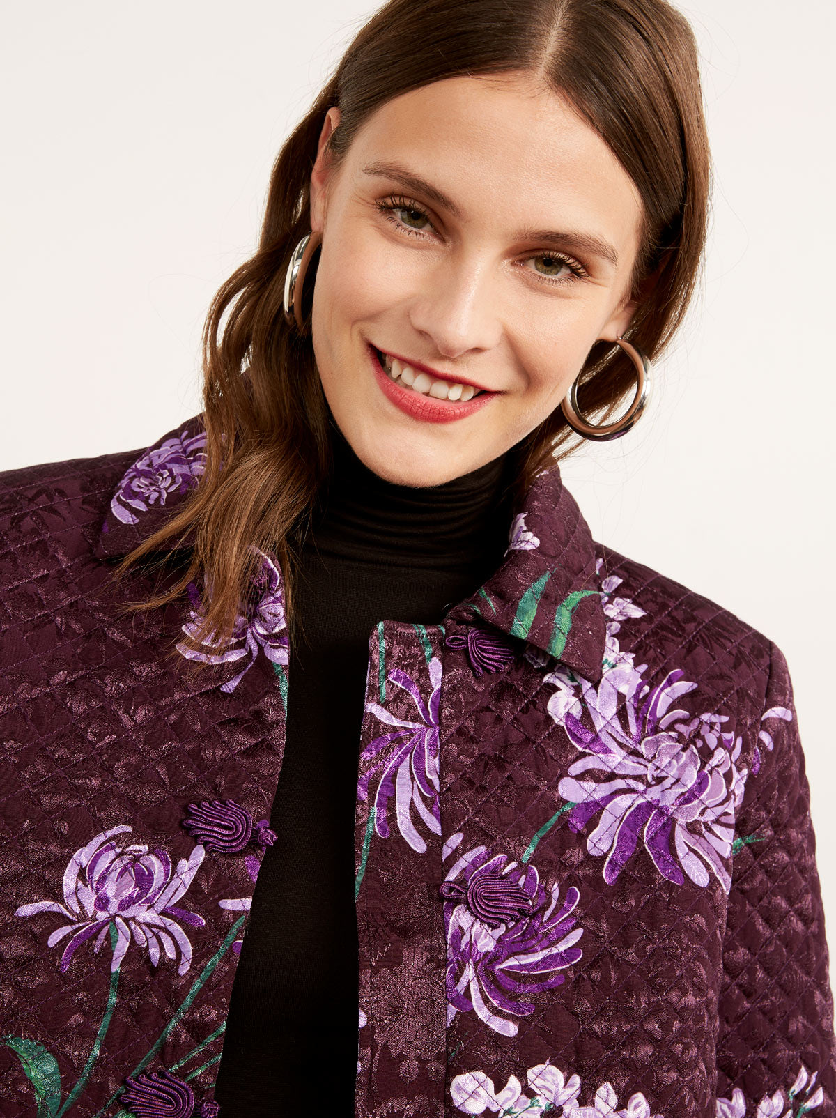 Joelle Purple Quilted Evening Jacket by KITRI Studio