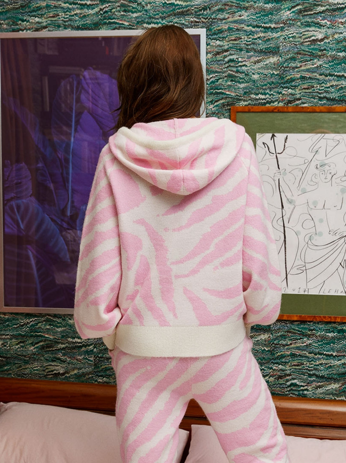 Jordana Pink Animal Alpaca Blend Knit Hoody