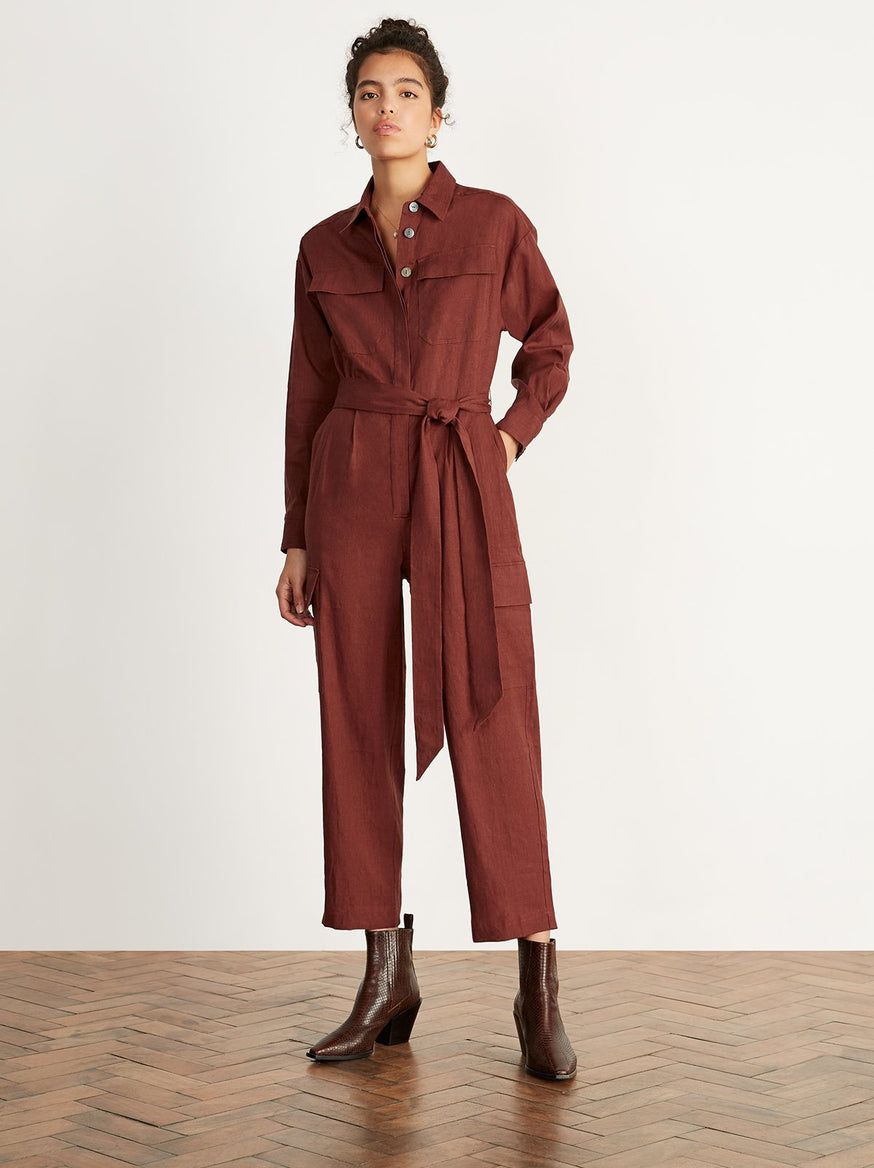 Jule Brick Linen Oversized Boiler Suit by KITRI Studio