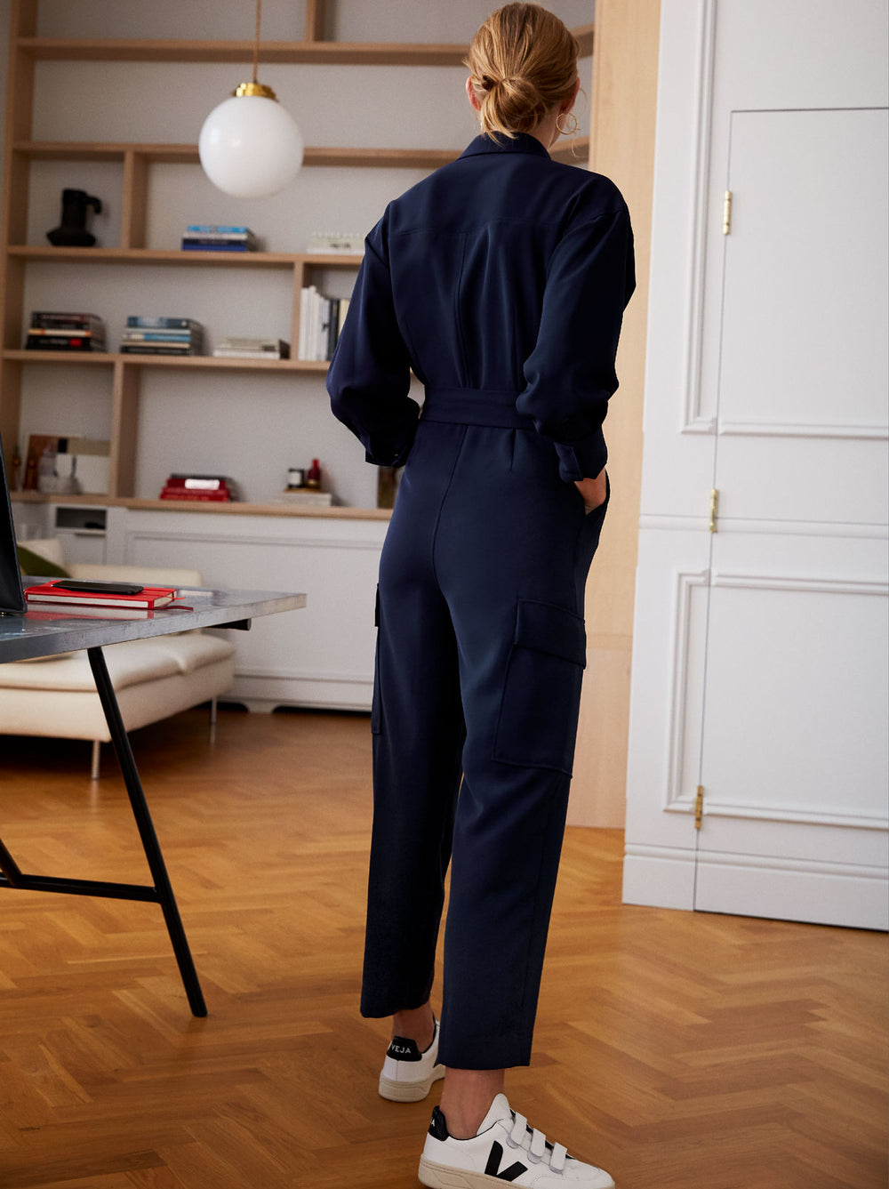 Jule Navy Oversized Boiler Suit Style Jumpsuit by KITRI Studio