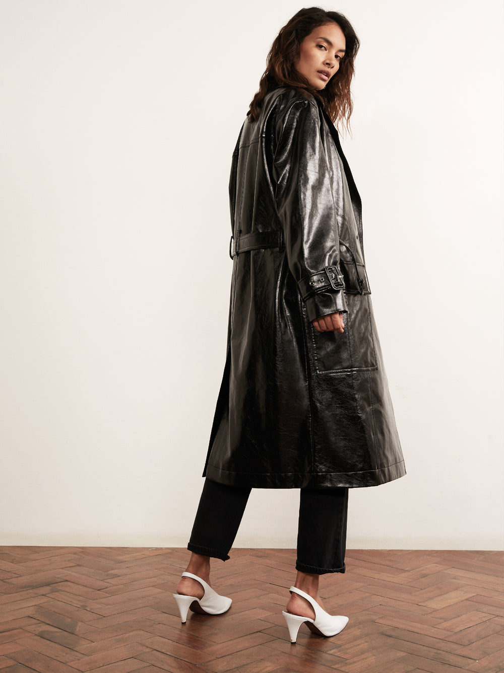 Justine Black Vinyl Trench Coat by KITRI Studio
