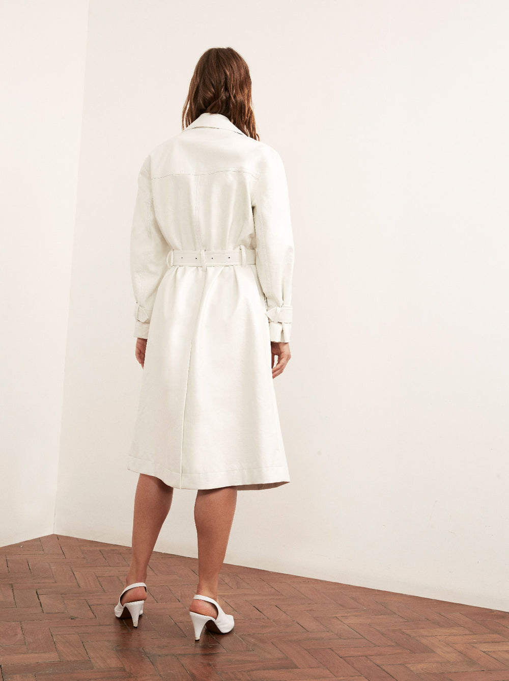 Justine Cream Vinyl Trench Coat by KITRI Studio