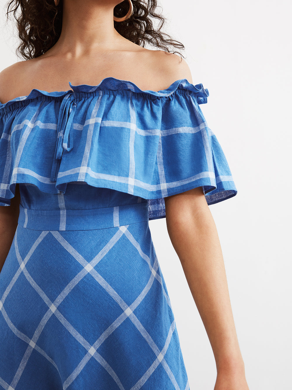 Amaya Cornflower Blue Check Bardot Sun Dress by KITRI Studio
