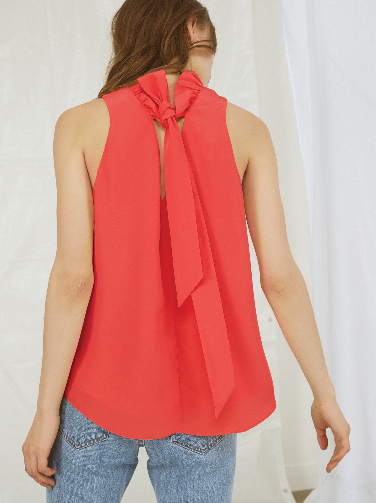 Anita Poppy Ruffle Neck Top
