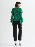 Blake Green Frilled Floral Print Blouse by KITRI Studio