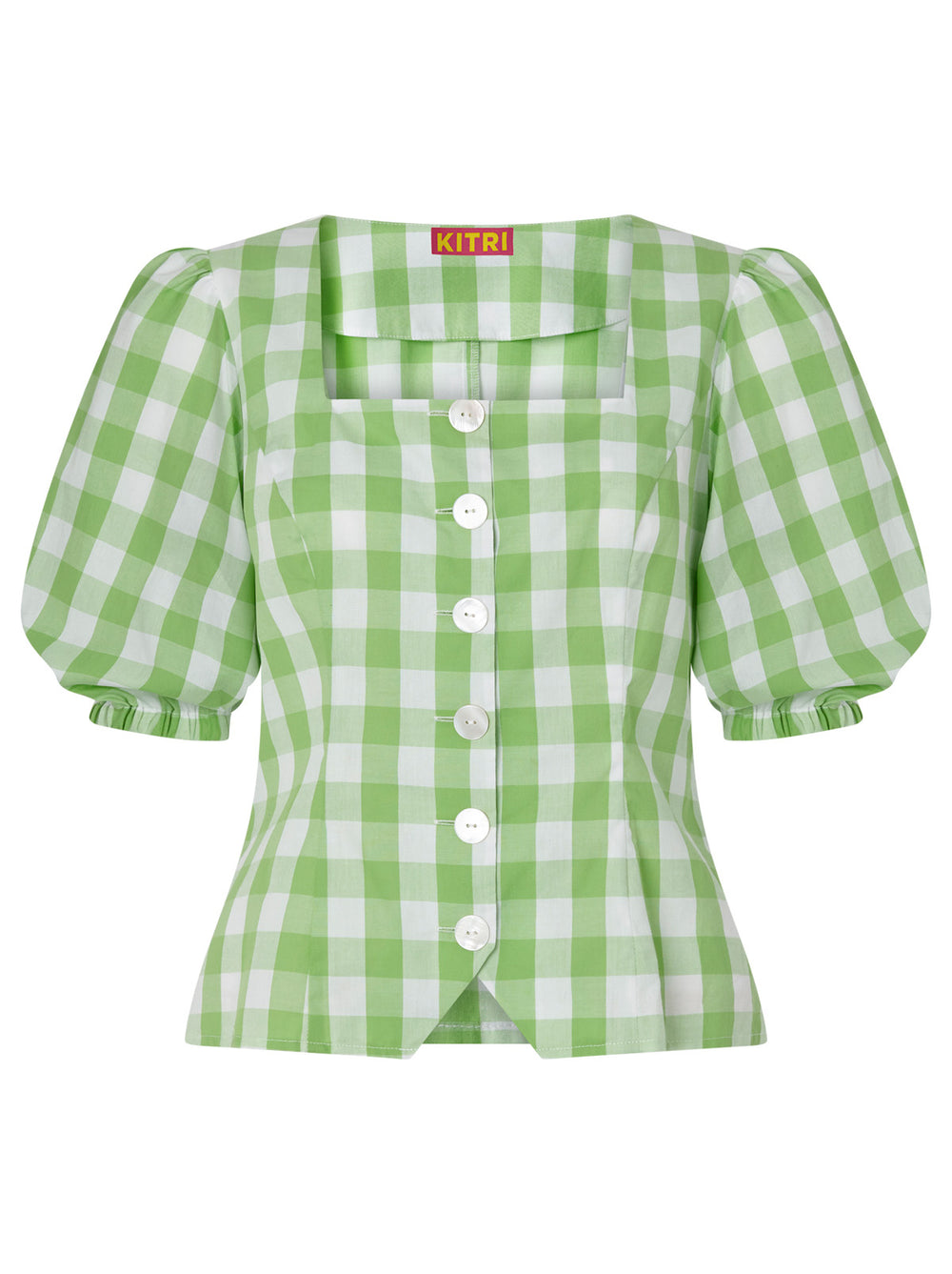 Bridget Green Gingham Top by KITRI Studio