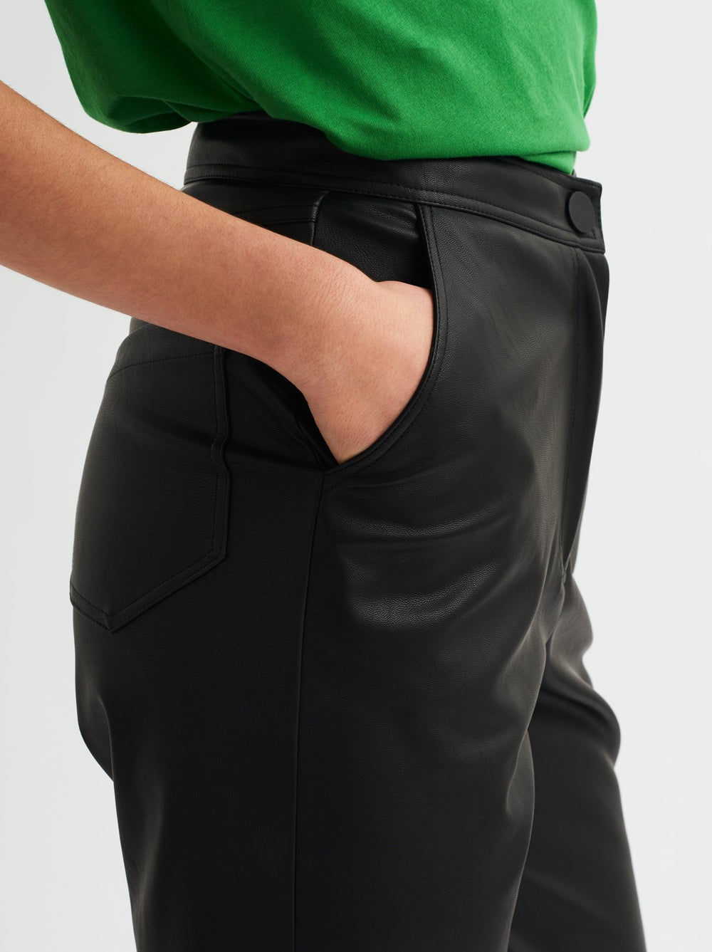 Calley Black Faux-leather PU Trousers by KITRI Studio