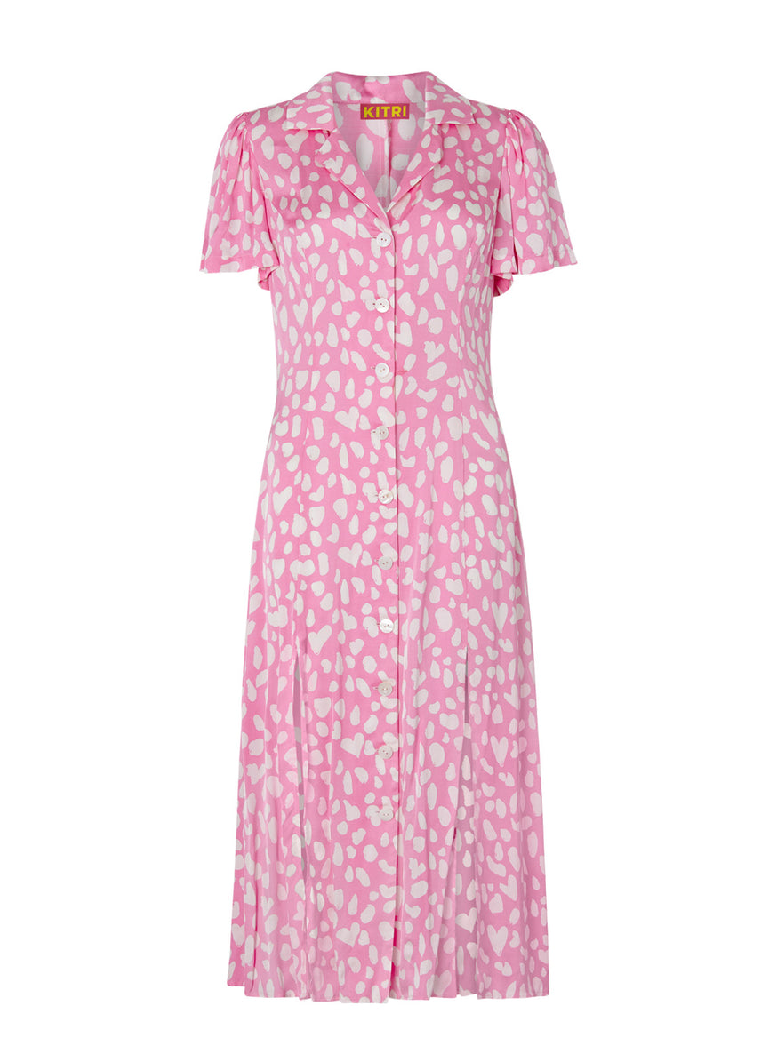 Calley Pink Animal Shirt Dress by KITRI Studio